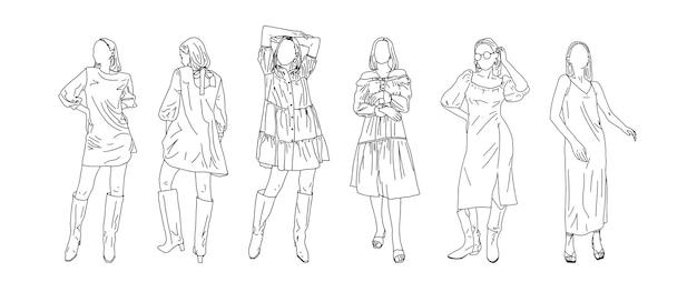 Teenager-mädchen in kleidern verschiedener stile sind in einem linearen stil gezeichnet. vektor-illustration.