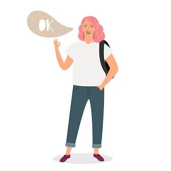 Teenager-mädchen zeigt zeichen ok illustration