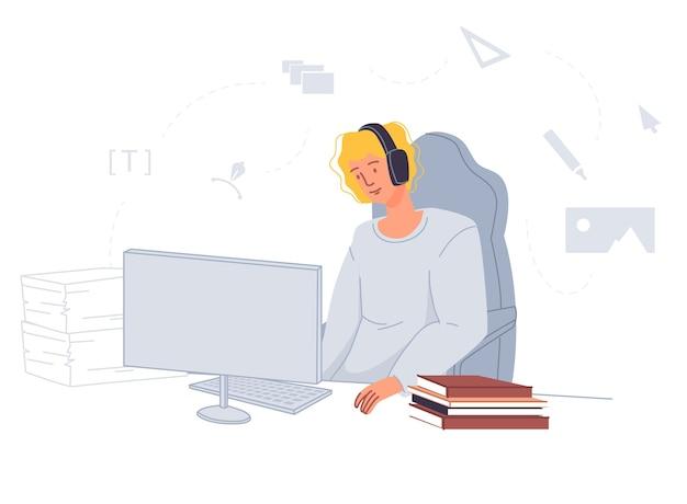 Teenager mann beobachten hörvorlesung online. charakter tragendes headset, das an der tischfront des computers sitzt. fernunterricht. video-tutorial-anwendung. heimunterricht, e-learning