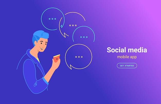 Teenager-mann mit mobiler app-konzept-vektor-illustration. junger teenager mit smartphone mit mobiler app für sms, senden von sofortnachrichten in sozialen medien. lächelnder junge auf hintergrund mit farbverlauf