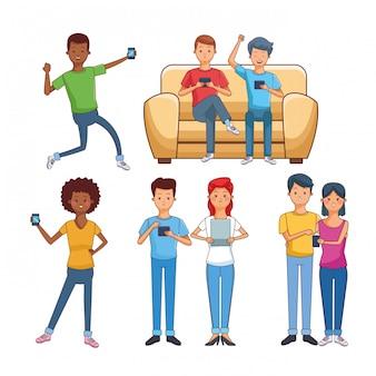 Teenager mit technologie