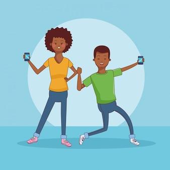 Teenager-paar mit smartphone-cartoons