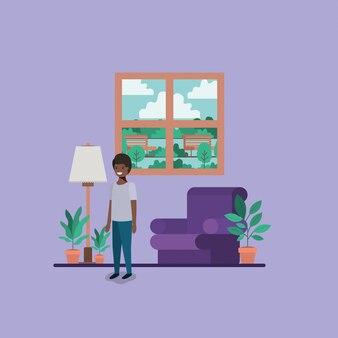 Teenager schwarzer junge im wohnzimmer