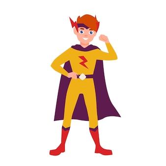 Teenager-superheld, superboy oder superkid, die in heroischer pose stehen. tragender bodysuit und umhang des jungen jungen. tapferes und selbstbewusstes heldenkind oder -kind. bunte vektorillustration im flachen cartoon-stil.