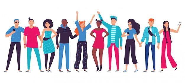 Teenager-team, glücklicher teenager mit freunden und studentenperson-lebensstil flache vektorillustration