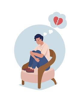 Teenager traurig über herzschmerz 2d-vektor-isolierte illustration. kind verärgert. mädchen mit negativen gedanken über beziehungen flache charaktere auf cartoon-hintergrund. teenager problem bunte szene