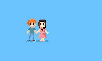 Teenagerhände des Pixels jugendlich