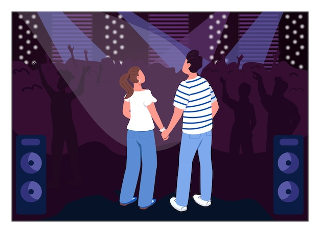 Teenagerpaar in der flachen farbe des clubs. party im konzertsaal. spaß am wochenende für kreative date-idee. freunde 2d-zeichentrickfiguren mit menge auf hintergrund