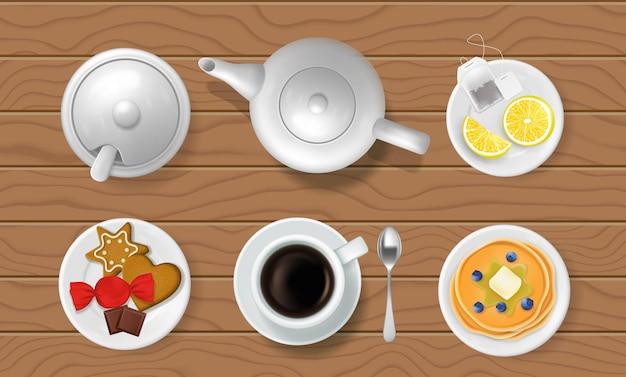 Teeparty auf holztisch teekanne teetasse zuckerdose untertasse löffel teebeutel zitronenpfannkuchen vektor il...
