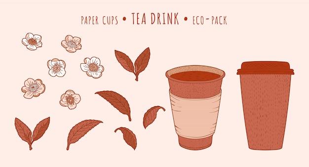 Teepflanze und pappbecher