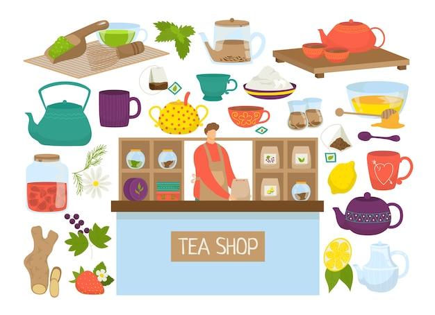Teesatz der illustration. ikonen der teekanne, mutcha, kessel sammlung. teebeutel, zitrone, glas. teezeitzeremonie symbole. teesorten im teeladen für chinesisches oder japanisches restaurant.