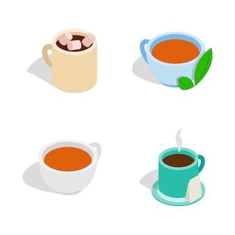 Teeschalenikone eingestellt auf weißen hintergrund