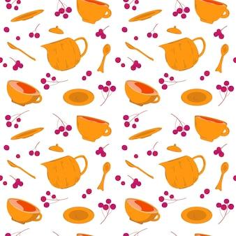 Teeset mit nahtlosem muster der herbstbeeren