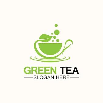 Teetasse-logo-vektor-design. grüner tee-vektor-logo-vorlage.