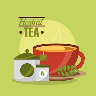 Teetasse zucker teebeutel und kräutergeschmack tee zeit