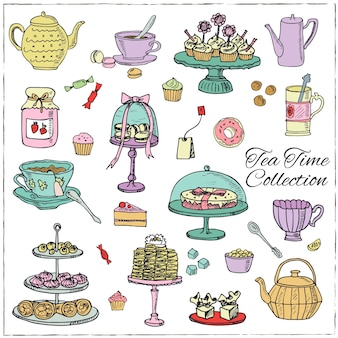 Teezeit gekritzel in der hand gezeichnet gesetzt