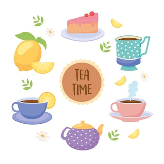Teezeit teetassen teekanne kuchen zitrone getränkeblatt illustration