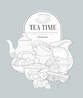 Teezeit vintage skizze