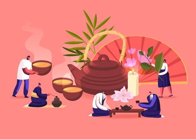 Teezeremonie illustration. menschen, die wachsen, sich kümmern, sammeln, verkaufen, verkaufen und trinken tee