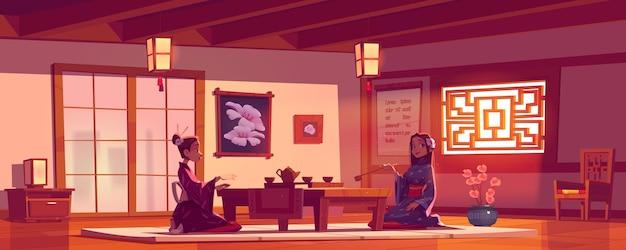 Teezeremonie im asiatischen restaurant, frauen tragen traditionellen kimono im chinesischen oder japanischen café sitzen