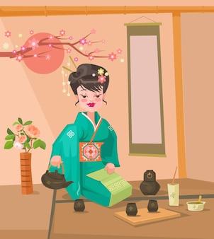 Teezeremonie japanischer frauencharakter, der flache karikaturillustration des tees zubereitet
