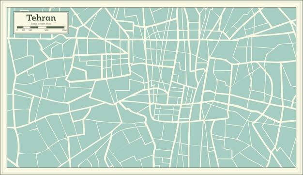 Teheran-iran-karte im retro-stil. vektor-illustration.