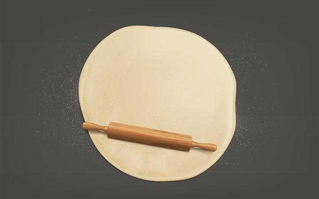 Teig mit realistischem vektor des nudelholzes flachdrücken