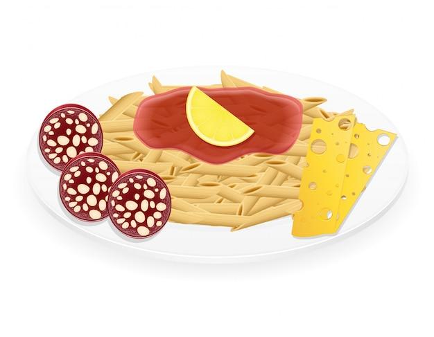 Teigwaren auf einer plattenvektorillustration