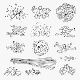 Teigwaren in der hand gezeichneten art