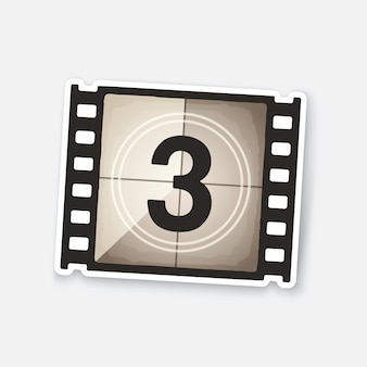 Teil des filmstreifens mit countdown-timer retro-rahmen des filmstreifens vektor-illustration