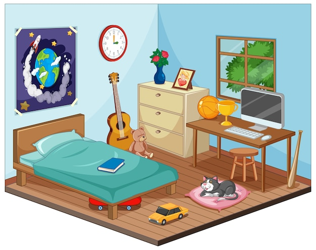 Teil des schlafzimmers der kinderszene im karikaturstil