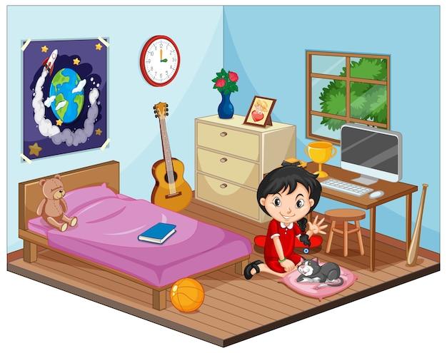 Teil des schlafzimmers der kinderszene mit einem mädchen im karikaturstil Premium Vektoren