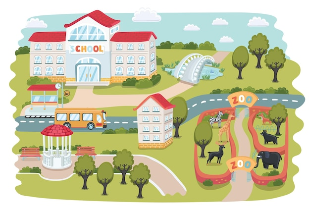 Teil stadtpläne. zoo mit tieren, haus, bäumen, pavillon, park, teich, brige usw.