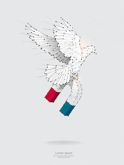 Teilchen, geometrische kunst, des magnet- und vogelfliegens