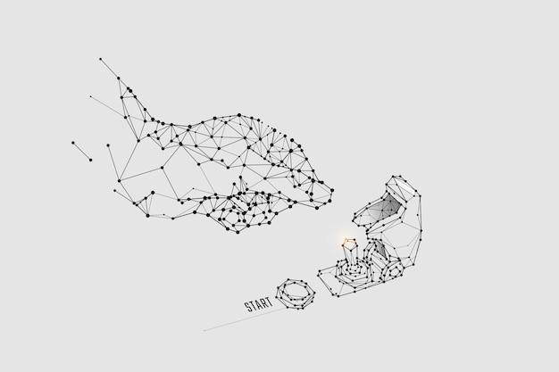Teilchen, geometrische kunst, linie und punkt des raketenschalters.