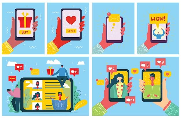 Teile deine liebe. valentins konzept auf online-dating-anwendung