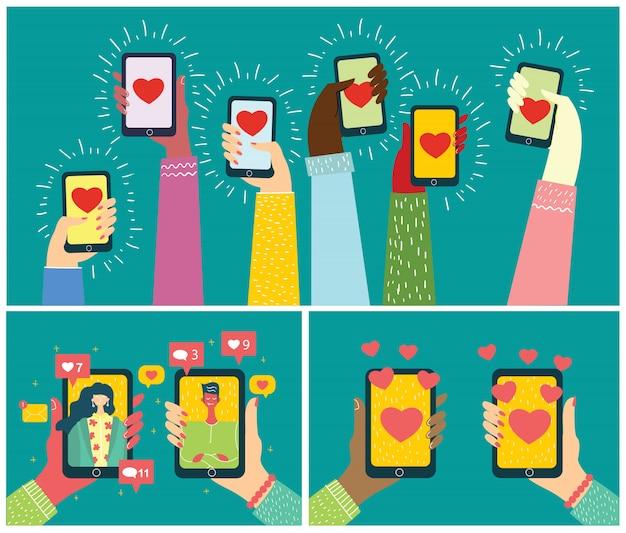 Teile deine liebe. valentinskonzept auf online-dating-anwendung in flachem design. männliche und weibliche hände halten handys mit abstraktem dating-app-profil auf anzeige.
