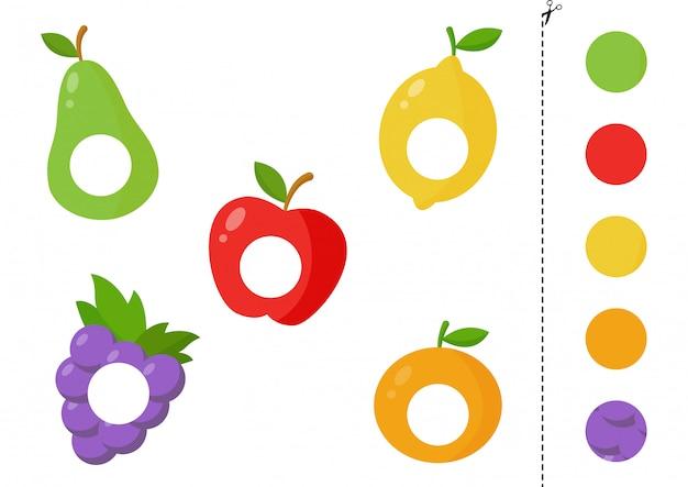 Teile von comic-früchten schneiden und kleben Premium Vektoren