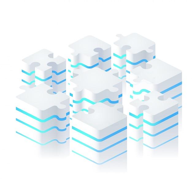 Teile von puzzles im modernen digitalen stil.