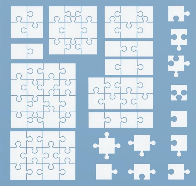 Teile von puzzlespielen auf blauer schablone. puzzlesatz 2, 3, 4, 6, 8, 9, 12, 16 teile