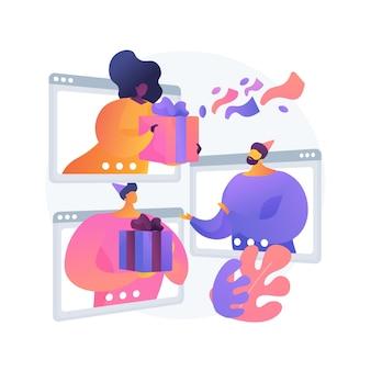 Teilen der abstrakten konzeptvektorillustration der geschenke online. online-feier, geschenk auf video auspacken, grüße vor der kamera senden, geschenk öffnen, virtuelle party, lustige abstrakte metapher teilen.