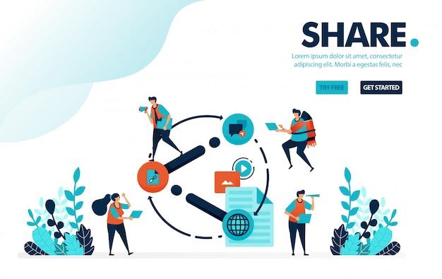 Teilen, menschen teilen link, video, dokument und inhalt in sozialen medien.