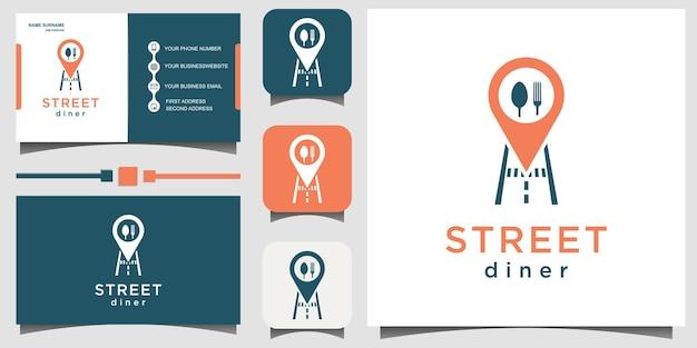 Teilen sie den logo-design-vektor des standortrestaurants mit der visitenkarte