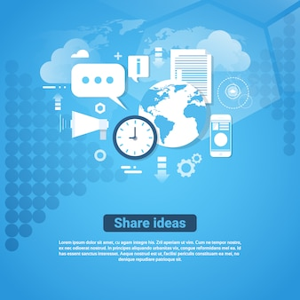 Teilen sie ideen vorlage web banner mit textfreiraum