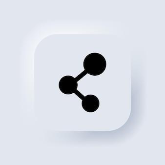 Teilen-symbol. social-media-konzept. bloggen. neumorphic ui ux weiße benutzeroberfläche web-schaltfläche. neumorphismus. vektor-eps 10.