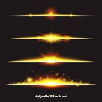 Teiler-kollektion mit goldenem lichteffekt