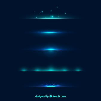 Teileransammlung mit blauem lichteffekt