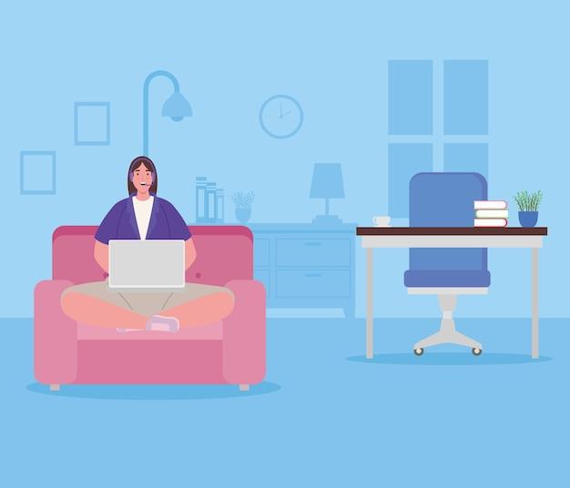 Telearbeit, frau im wohnzimmer, von zu hause aus arbeitend.