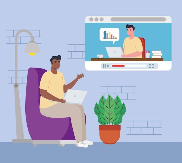 Telearbeit, männer in videokonferenz von zu hause aus arbeiten.