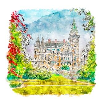 Teleborgs slott schweden aquarell skizze hand gezeichnete illustration
